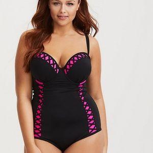 Torrid black and pink peekaboo swim suit